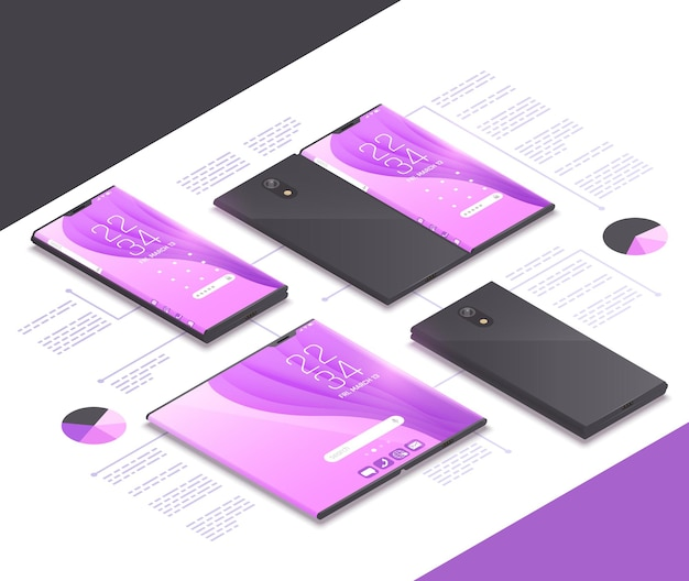 折り畳み式のガジェットの概念は、電子機器、タブレット、スマートフォンの次世代モデルとテキストのイラストを使用した等角投影図です。