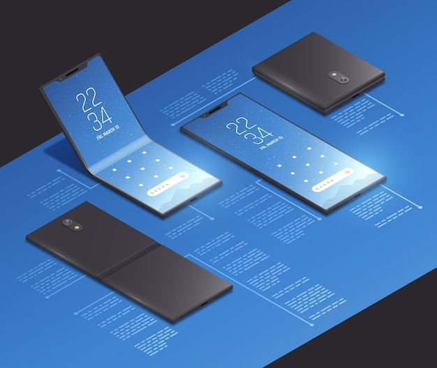 Складные гаджеты представляют собой изометрическую композицию с реалистичными изображениями новых моделей смартфонов с иллюстрацией текстовых подписей,