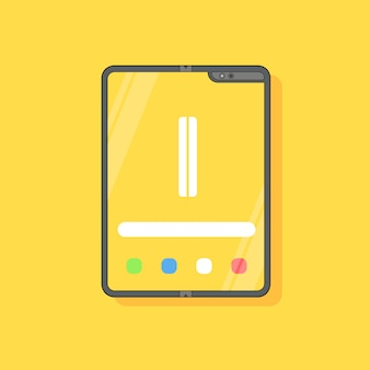 Foldable mobile device isolated on yellow