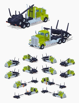 Folded 3d lowpoly isometric log truck