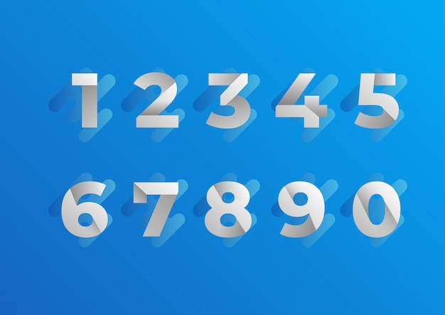 Folded blue numbers set