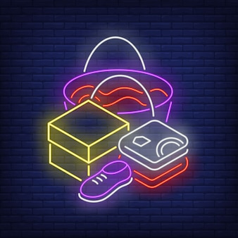 Folded clothes, shoe, box and shopping bag neon sign
