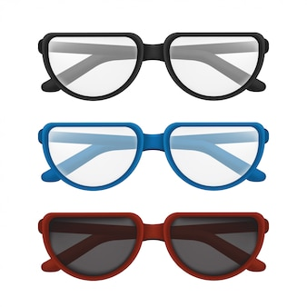 カラフルなフレーム-黒、青、赤で設定された折りたたみメガネ。白い背景で隔離の透明なレンズで読書や太陽の保護のためのエレガントな古典的なアイウェアのイラスト