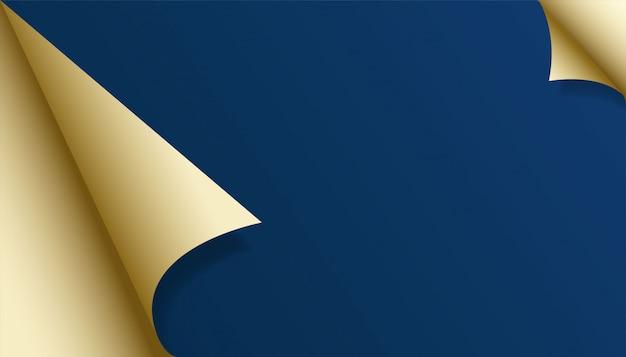 Folded gold paper blue background
