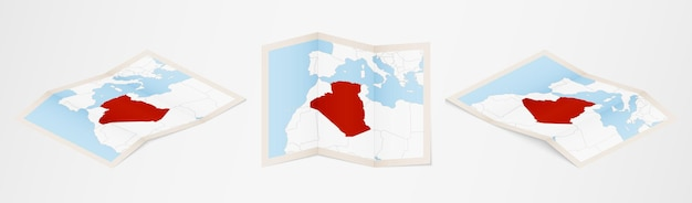 Folded map of algeria in three different versions.