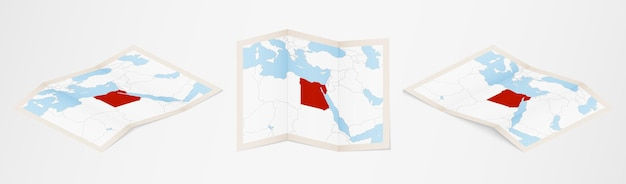 Folded map of egypt in three different versions.
