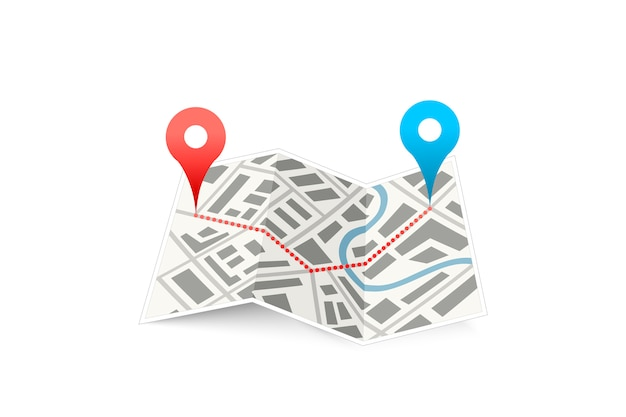 Folded map icon with track between gps points isolated