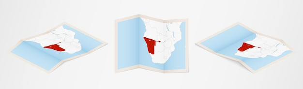 Folded map of namibia in three different versions.