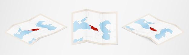 세 가지 다른 버전으로 접힌 조지아 지도.