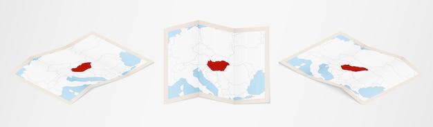 Сложенная карта венгрии в трех разных вариантах.