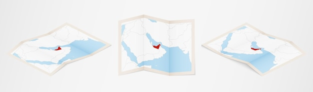 Folded map of united arab emirates in three different versions.