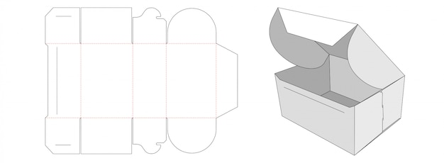 Folded packaging box die cut template design