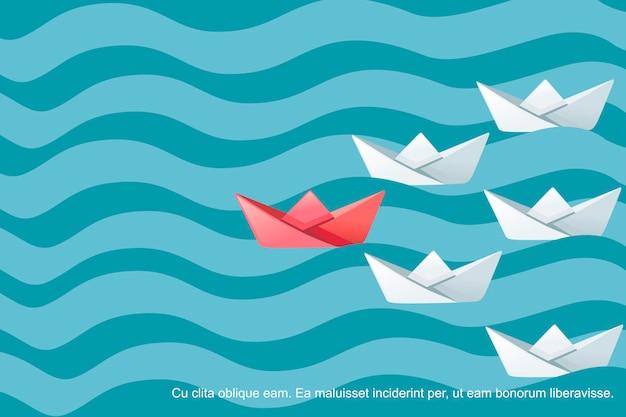 Сложенные бумажные кораблики на волнах на воде после иллюстрации вектора абстрактного понятия лидера плоской.
