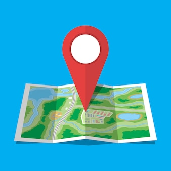 Folded paper city map icon