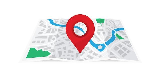 赤いピンで折りたたまれた紙の都市地図。ナビゲーション、ジオロケーションを使用した地図。方法の概念を見つける。ポイントマーカー付きの世界地図。マップナビゲーション。 gpsナビゲーター付きの都市地図