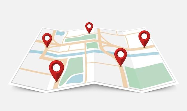 赤いピンポインターと折り畳まれた紙の市内地図