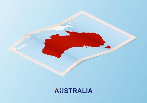 Folded paper map of australia with neighboring countries in isometric style.