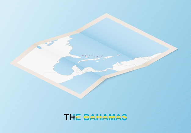 Folded paper map of the bahamas with neighboring countries in isometric style.