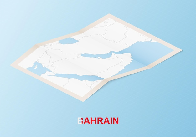 Folded paper map of bahrain with neighboring countries in isometric style.