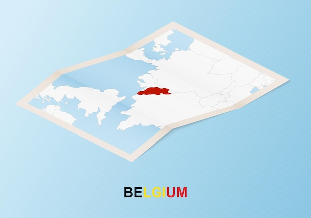 Folded paper map of belgium with neighboring countries in isometric style.