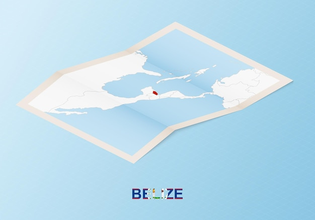 Folded paper map of belize with neighboring countries in isometric style.