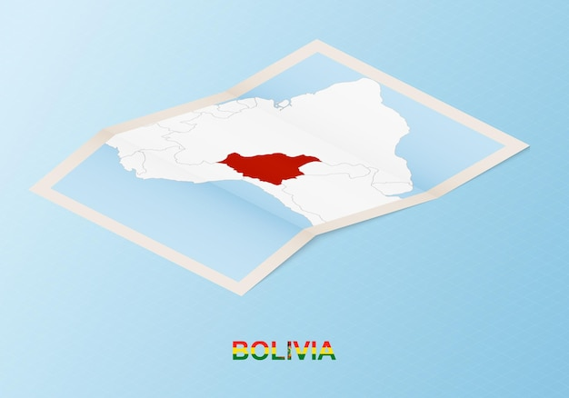 Folded paper map of bolivia with neighboring countries in isometric style.