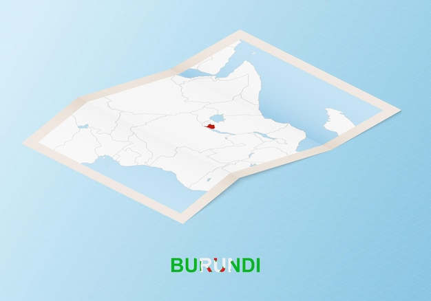 Folded paper map of burundi with neighboring countries in isometric style.