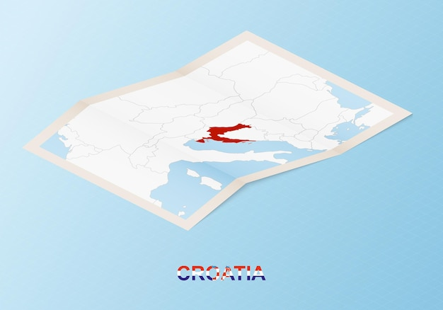 Folded paper map of croatia with neighboring countries in isometric style.