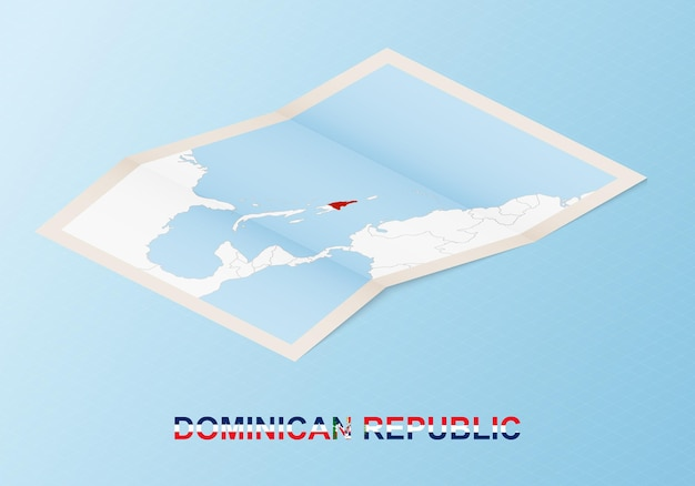 Folded paper map of dominican republic with neighboring countries in isometric style.
