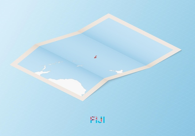 Folded paper map of fiji with neighboring countries in isometric style.
