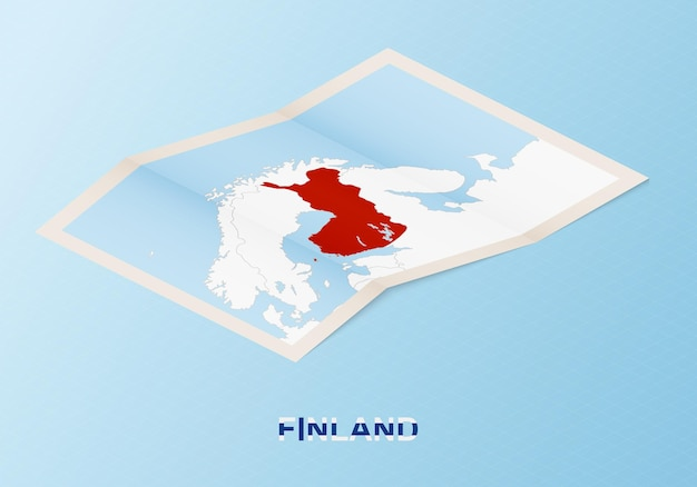 Folded paper map of finland with neighboring countries in isometric style.