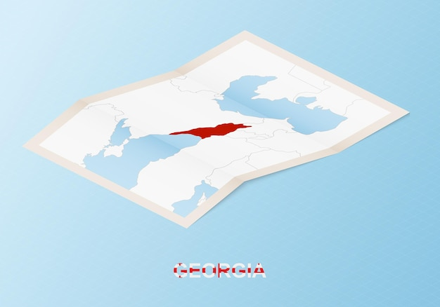 Folded paper map of georgia with neighboring countries in isometric style.
