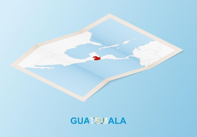 Folded paper map of guatemala with neighboring countries in isometric style.