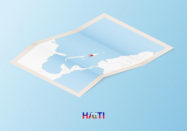 Folded paper map of haiti with neighboring countries in isometric style.