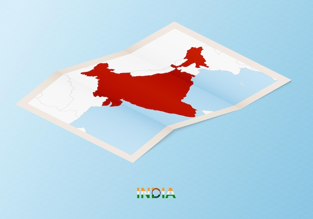 Folded paper map of india with neighboring countries in isometric style.
