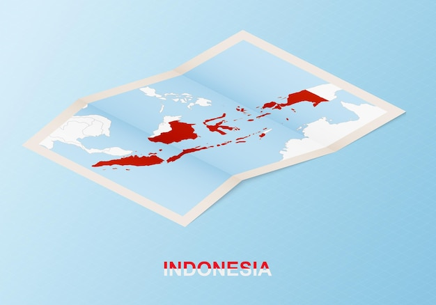 Folded paper map of indonesia with neighboring countries in isometric style.