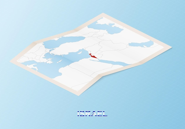 Folded paper map of israel with neighboring countries in isometric style.