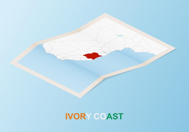 Folded paper map of ivory coast with neighboring countries in isometric style.