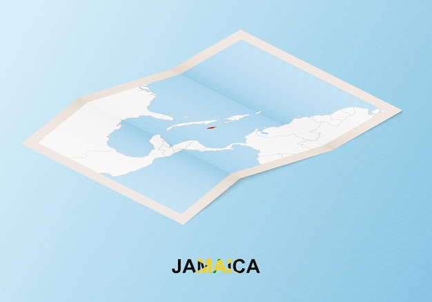 Folded paper map of jamaica with neighboring countries in isometric style.