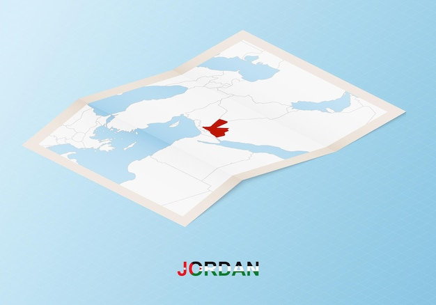 Folded paper map of jordan with neighboring countries in isometric style.