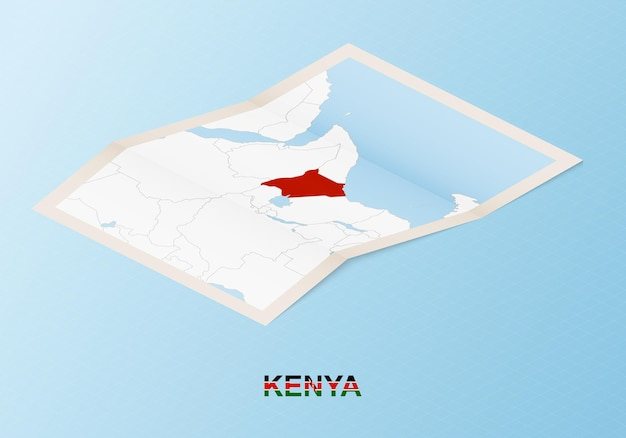 Folded paper map of kenya with neighboring countries in isometric style.