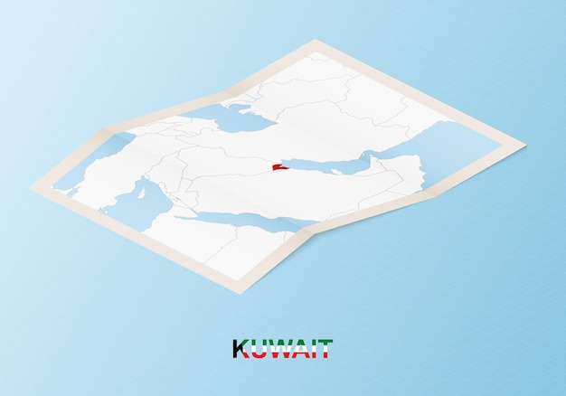 Folded paper map of kuwait with neighboring countries in isometric style.