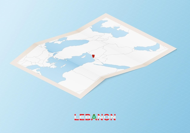 Folded paper map of lebanon with neighboring countries in isometric style.