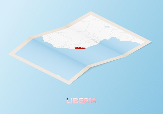 Folded paper map of liberia with neighboring countries in isometric style.