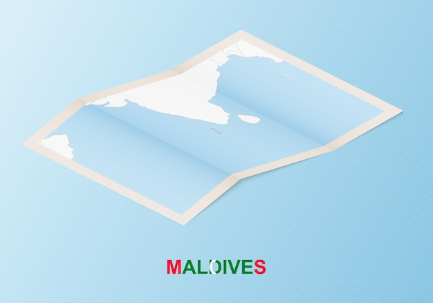 Folded paper map of maldives with neighboring countries in isometric style.