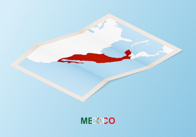 Folded paper map of mexico with neighboring countries in isometric style.