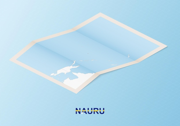 Folded paper map of nauru with neighboring countries in isometric style.