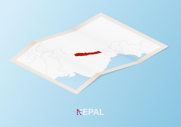 Folded paper map of nepal with neighboring countries in isometric style.