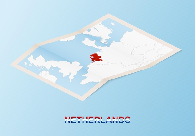 Folded paper map of netherlands with neighboring countries in isometric style.