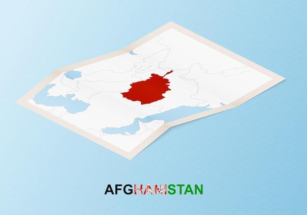 Сложенная бумажная карта афганистана с соседними странами в изометрическом стиле.